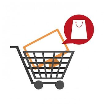 Carrinho de compras com televisão