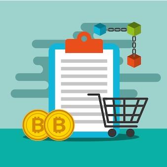 Carrinho de compras da prancheta e blockchain de bitcoin
