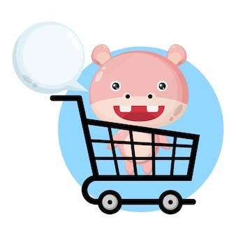 Carrinho de compras de bebê personagem fofa