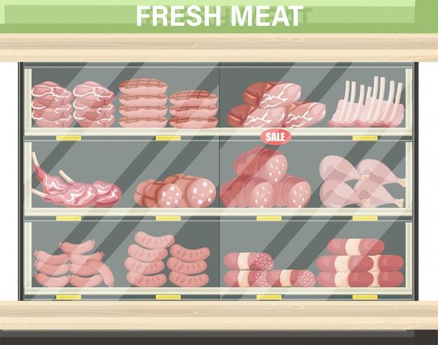 Carrinho de compras de carne