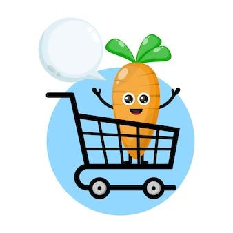 Carrinho de compras de cenoura com logotipo de personagem fofa