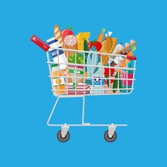 Carrinho de compras de metal cheio de produtos de mercearia