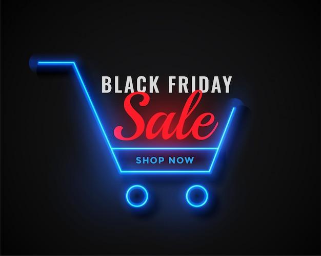 Carrinho de compras de néon venda de sexta-feira negra