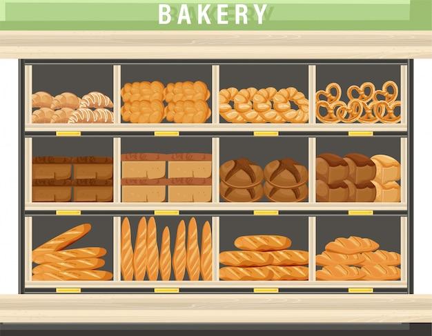 Carrinho de compras de padaria