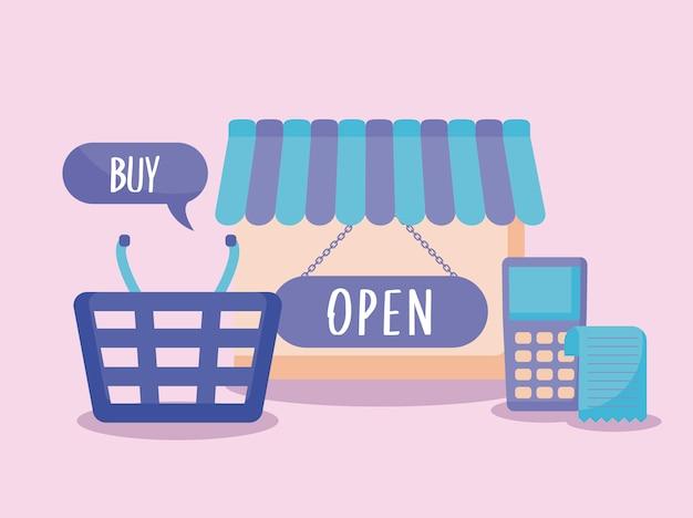 Carrinho de compras e conjunto de ícones