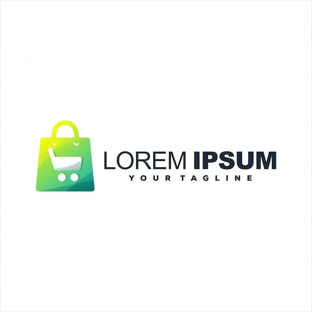 Carrinho de compras gradiente design de logotipo
