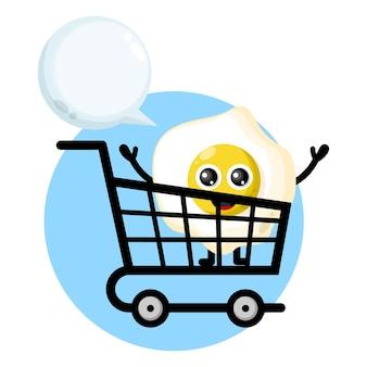 Carrinho de compras logotipo do personagem mascote dos ovos