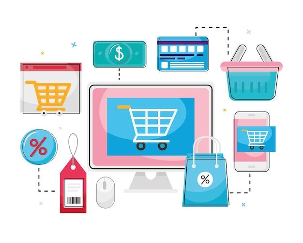 Carrinho de compras no computador com coleção de ícones