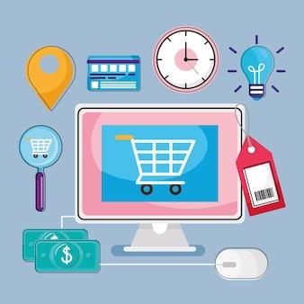 Carrinho de compras no computador com conjunto de ícones