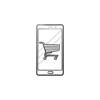 Carrinho de compras no ícone de doodle de contorno desenhado de mão de tela do telefone móvel. loja de aplicativos, e-commerce, online, conceito de venda