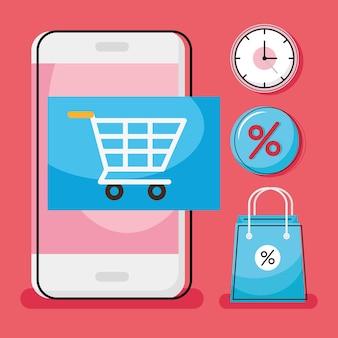 Carrinho de compras no smartphone com conjunto de ícones