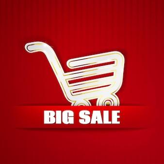 Carrinho de compras recortado de papel em fundo vermelho listrado