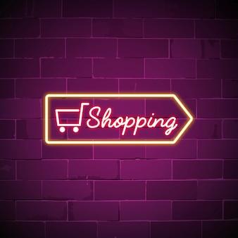 Carrinho de compras sinal de néon