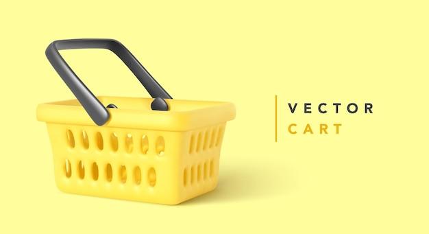 Carrinho de compras vazio isolado em amarelo