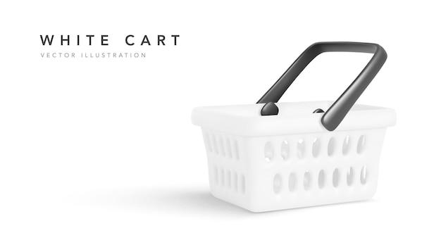 Carrinho de compras vazio isolado no fundo branco, ilustração