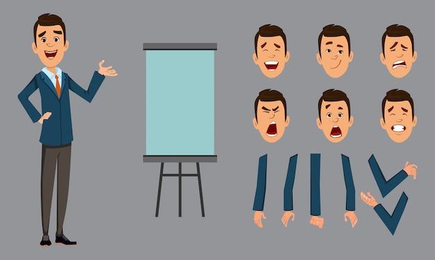 Carrinho de empresário com prancha de apresentação. personagem de empresário com rosto diferente emoções e mãos
