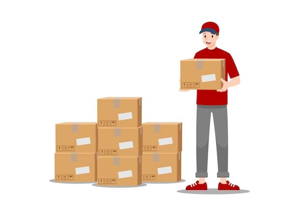 Carrinho de entrega on-line e segurando uma parcela.