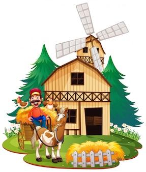 Carrinho de equitação agricultor com cavalo