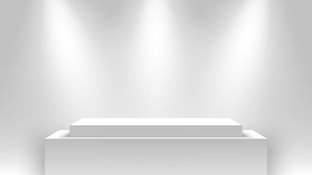 Carrinho de exposição branco, iluminado por holofotes. pódio. pedestal.