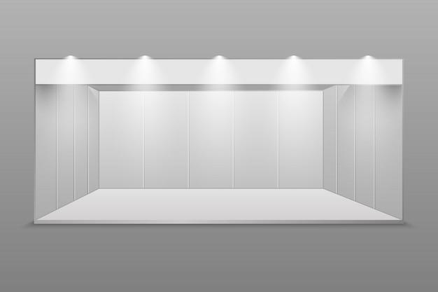 Carrinho de exposição em branco branco.
