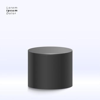 Carrinho de exposição preto no fundo do estúdio
