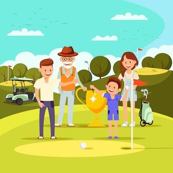 Carrinho de família feliz no campo com buracos e bandeira.