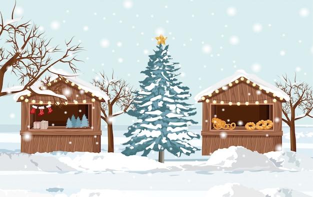 Carrinho de feira de natal com produtos de férias para venda