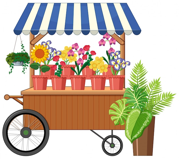 Carrinho de flor loja estilo cartoon isolado