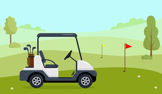 Carrinho de golfe em campo verde