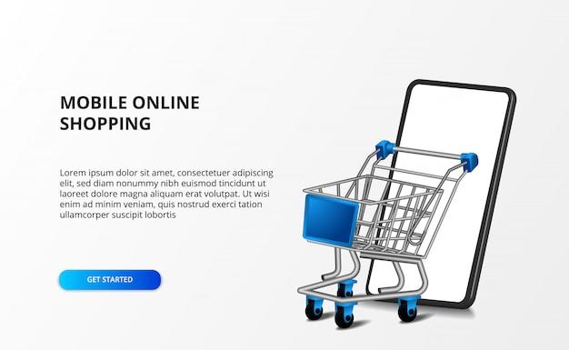 Carrinho de ilustração 3d isométrica com smartphone. compras on-line da loja e conceito de comércio eletrônico.