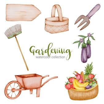 Carrinho de jardim, placa de madeira, aquarela, cesta, garfo, frutas e vegetais conjunto de objetos de jardinagem em estilo aquarela sobre o tema jardim.