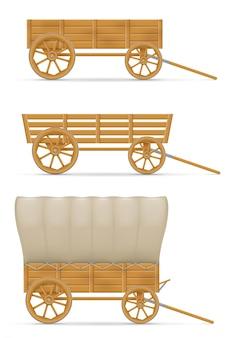 Carrinho de madeira para ilustração de cavalo
