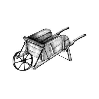 Carrinho de madeira retrô desenhada de mão