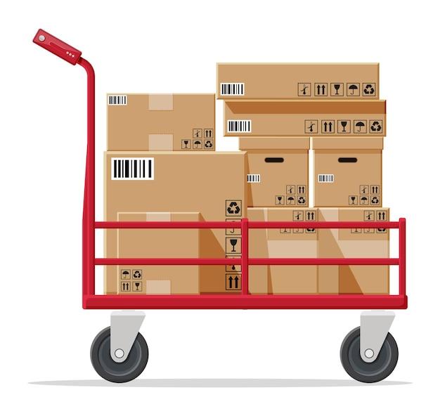 Carrinho de mão cheio de caixas isoladas em branco
