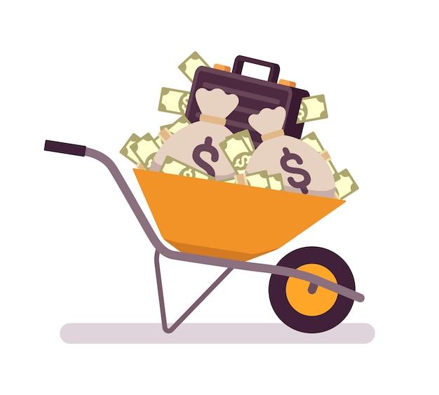 Carrinho de mão cheio de dinheiro