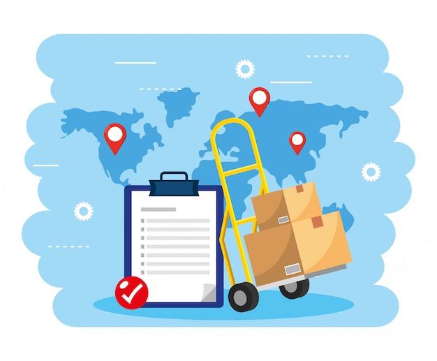 Carrinho de mão com pacote de caixas e lista de verificação