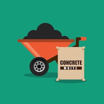 Carrinho de mão de construção e concreto de saco