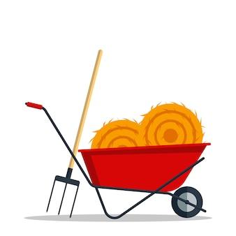 Carrinho de mão de jardinagem liso vermelho com o feno e o forcado isolados no fundo branco. ferramenta constraction agricultura ícone roda equipamento.