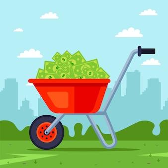 Carrinho de mão vermelho com um monte de dinheiro dentro. ganhe uma grande quantia. transporte de ilustração de capital.