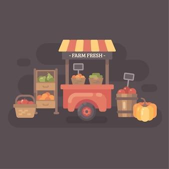 Carrinho de mercado de agricultores com frutas e legumes. ilustração plana de venda outono