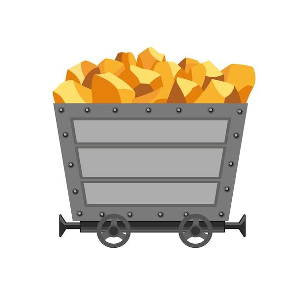 Carrinho de mina de metal carregado com ouro. carrinho de mina de desenho animado. ilustração de desenho vetorial isolada no fundo branco.