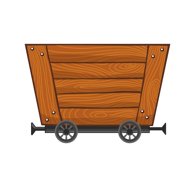 Carrinho de mina vazio de madeira. carrinho de mina de desenho animado. ilustração de desenho vetorial isolada no fundo branco.
