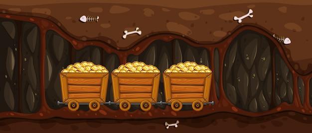 Carrinho de mineração cheio de ouro