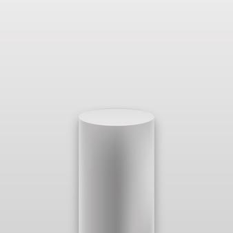 Carrinho de produtos em branco geométrico da galeria. palco do museu. pódio de cubo realista.