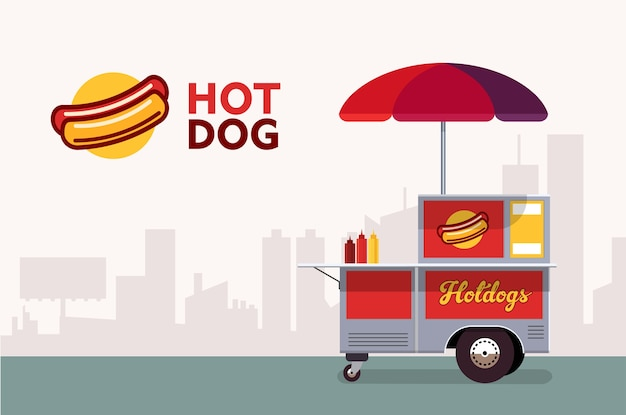 Carrinho de rua de cachorro quente. serviço de fornecedor de fast food stand.