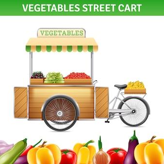 Carrinho de rua de legumes com tomate beterraba e pimentão