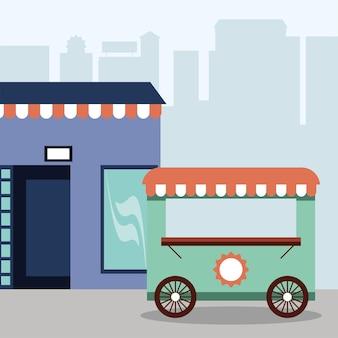 Carrinho de rua para pequenas empresas