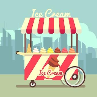 Carrinho de sorvete gelato de vetor. sorvete de sobremesa de comida e carrinho de verão com sorvete no waffle cone i
