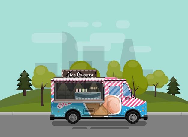 Carrinho de sorvete, quiosque sobre rodas, varejistas, sobremesas lácteas