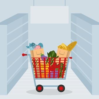 Carrinho de supermercado com mantimentos e vegetais